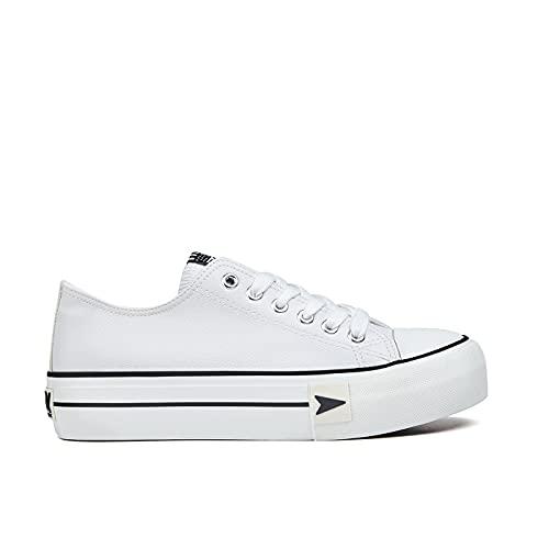 D.Franklin Sneakers Bay Plataforma, Zapatillas Mujer, Blanco, 39 EU