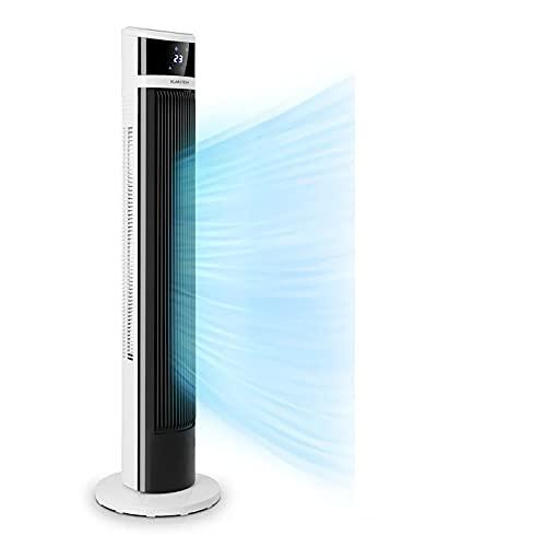 Klarstein Icetower Smart - Ventilador, Caudal 100 m3/h, 3 velocidades, 3 modos funcionamiento, Oscilación, Temporizador, Wifi, Funcionamiento App, Panel táctil, Iluminación LED, Control remoto, Blanco