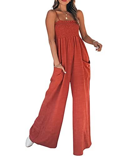 Beautmell Mono de verano para mujer, estilo bohemio, con tirantes de espagueti, pierna ancha, pantalones harén, estilo retro, bohemio, con bolsillos