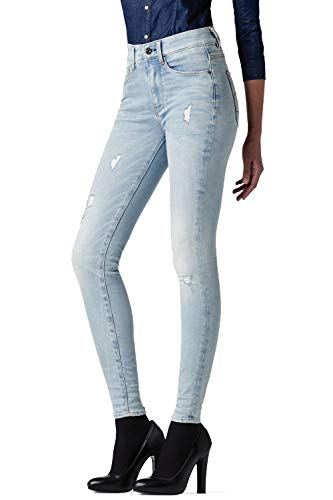 G-STAR RAW Damen 3301 Ultra High Waist Super Skinny Jeans, Blau (Bleach wash 6698-832), 27W / 32L
