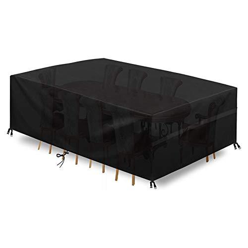 Protectora para Muebles De JardíN Funda para Muebles De JardíN Exterior Impermeable A Prueba De Viento PañO Oxford 420D Cubierta De Mesa Patio para Muebles Grandes Negro(125 X 125 X 71 Cm)