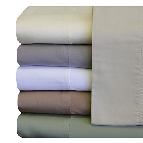 Royal Hotel Bedding ABRIPEDIC Tencel Sheets, Silky Soft and Naturally Pure Fabric, 100% Woven Tencel Lyocell Sheet Set, 4PC Set, Queen Size, White