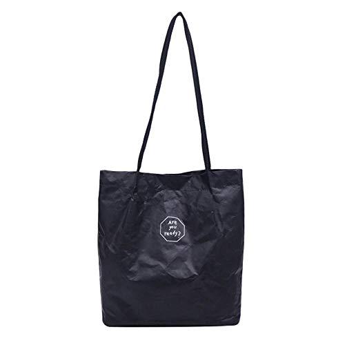 Women s Bags Retro Kraft Paper Splash Proof Shoulder Bags Solid Color Letter Handbag Lady Simple Style Hand Bags Black