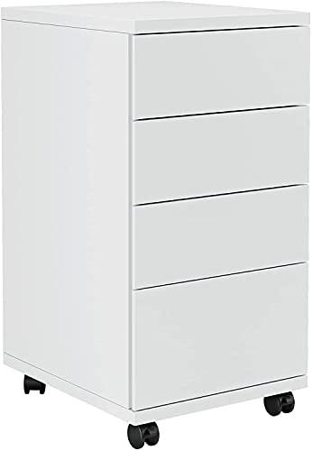Aktenschrank auf Rollen Schubladenkommode mit 4 Schubladen Druckerschrank Rollcontainer für Arbeitszimer Büro Weiß 33x63,5x39 cm