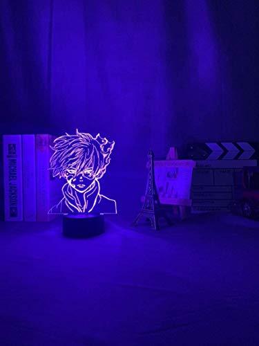 Anime My Hero Academia Shoto Todoroki LED Luz de noche para habitación Deco regalo de cumpleaños Shoto Todoroki lámpara 3D My Hero Academia-16 Color con mando a distancia