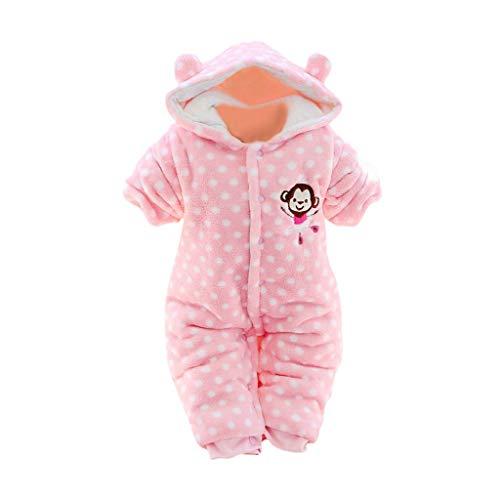 Baby Overall mit Kapuze, Huhu833 Neugeborenes Baby Mädchen Jungen Winter Warm Fleece Hooded Strampler Dicke Cartoon Langarm Overall Jumpsuit Mantel 0-24Monate (Rosa, 6-9Monate)