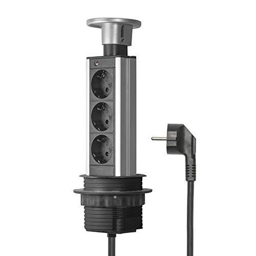 Elbe Socket para Mesa Empotrado, Multi-Socket con 3 enchufes alemanes, Enchufe alemán, Tapa cromada, Cable de 1,5 m, Apto para Oficina, Trabajo y Cocina