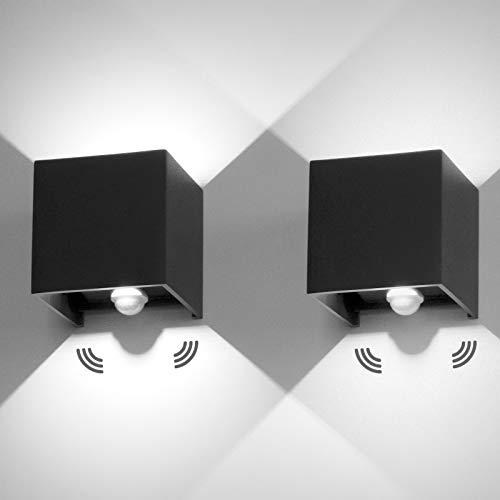 2 Stücke LED Wandleuchte, Aussenlampe mit Bewegungsmelder, IP65 Wasserdicht Außen Wandlampe Schwarz mit Einstellbare Lichtstrahl Design, 12W Wandbeleuchtung Innen Kaltweiß