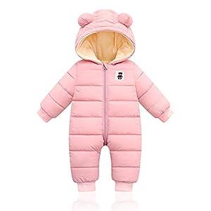 Bebé Invierno Mamelucos con Capucha, Niñas Niños Ropa Traje de Nieve Manga Larga Fleece Monos Outfits Peleles Calentar Abrigo Regalos 12-18 Meses,Rosa