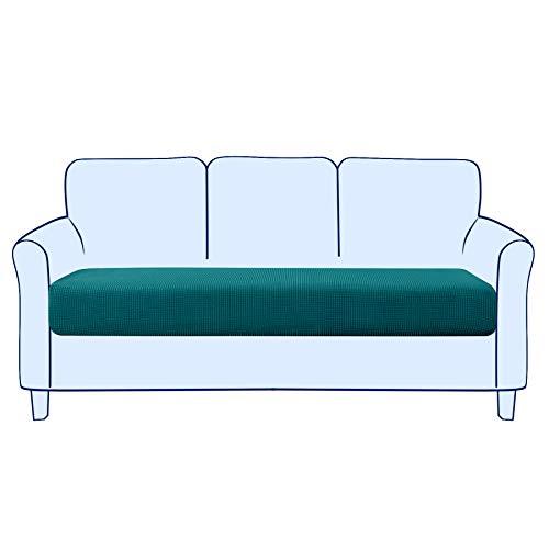 subrtex Sofa Sitzkissenbezug Stretch Sitzkissenschutz Elastischer Kissenbezüge Husse Überzug Bezug für Sofa Sitzkissen (3 Sitzer, Petrol Blau)