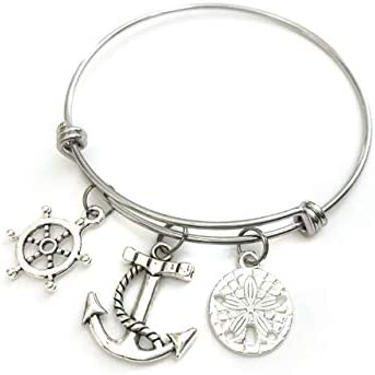 Nautical theme bracelet Includes Ship Wheel Anchor and Sand Dollar charms Nautical theme gift product image