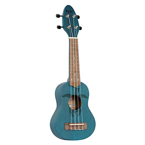 ORTEGA KEIKI Ukulele 4 String - Sopranino Tortiose/Turtle Lasering/KEIKI Headstock/A D F# B/Ocean Blue K1-BL