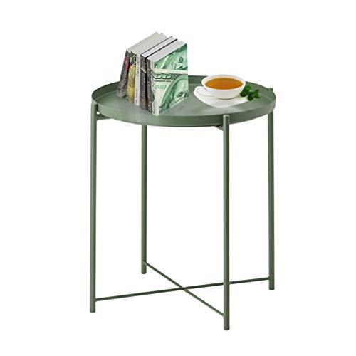Tavolino rotondo in metallo, tavolino da caffè esterno, tavolino piccolo accento per interni, pieghevole, impermeabile, rimovibile, per soggiorno, camera da letto, balcone, ufficio, verde