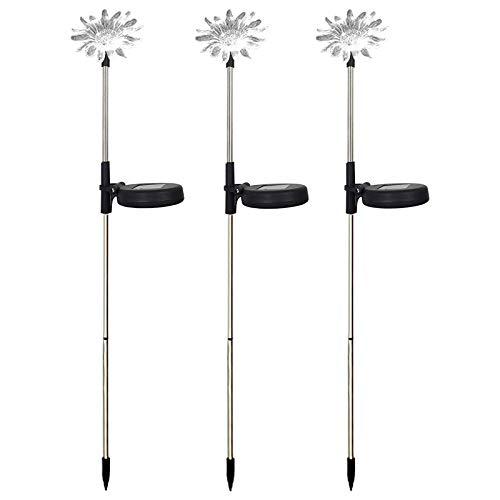 WUHNGD Luces solares de jardín al aire libre, paquete de 3 luces solares decorativas de flores de 7 colores que cambian de estaca luces solares al aire libre, lámparas de estaca para jardín