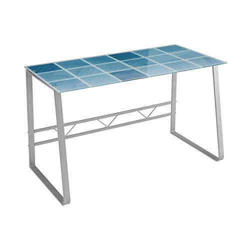 Escritorio Azul de Cristal Templado y Metal de diseño de 120x60x75 cm...