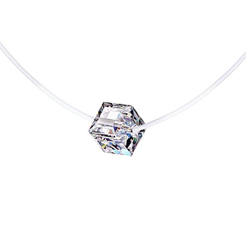 Belons Edelstahl Weiß Kristall Würfelzucker Damen Mädchen Halskette Kette mit Anhänger Nylonband Choker Solitär-Kette