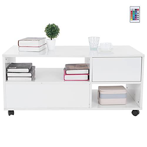 Ausla Mesa de café, mesa de centro LED de 2 niveles con diseño moderno rectangular, muebles de salón para interiores y sala de estar, carga máxima de 50 kg, 37.7 x 19.7 x 17.3 pulgadas (blanco)