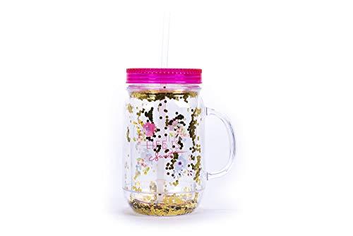 Tri-Coastal Design - Vaso de plástico con pajita, tarro grande y resistente a los golpes con pajita, tapa y asa (Beautiful Bloom).