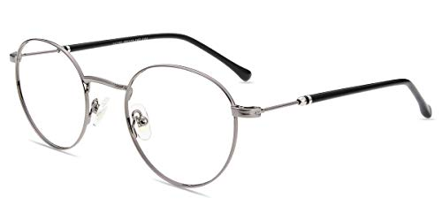 Firmoo Blaulicht Brille ohne Sehstärke Entspiegelt Damen Herren, Runde Metall Anti Blaulicht Computer Brille gegen Kopfschmerzen, Blaulichtfilter UV Schutzbrille Silver