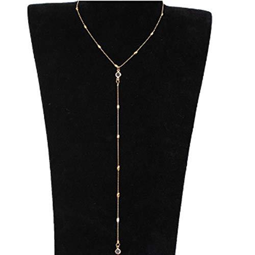 JIANGYA Rückenkette Frauen Zinn Legierung Hintergrund Kristall Halskette Zurück Körper Gold Farbe Kette Strand Schmuck, A