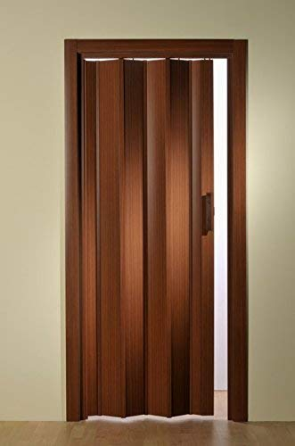 Kunststoff - Falttür Mahagoni ohne Fenster 88,5x202 cm doppelwandig