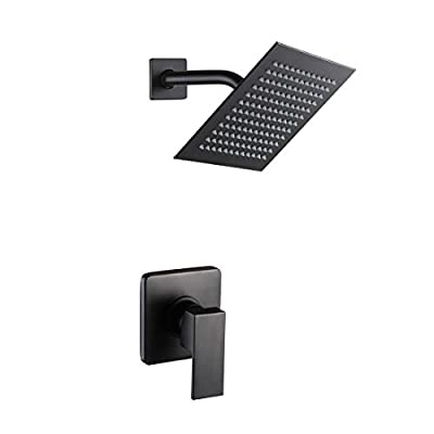 POP Matte Black Shower Faucet Set, Bathroom Rainfall Shower System with Stainless Steel Metal Showerhead, Single Function Shower Trim Kit with Rough-in Valve