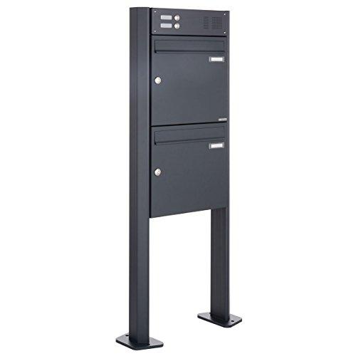 Standbriefkasten Design BASIC 380-P mit Klingel- Sprechteil - Anthrazitgrau 7016 (2 Parteien)