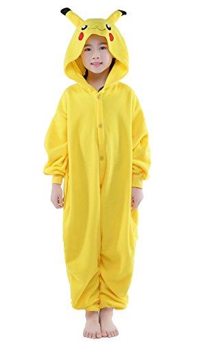 NEWCOSPLAY Unisex Children Pikachu Onesies Halloween Cosplay Costume (10 Years) Yellow