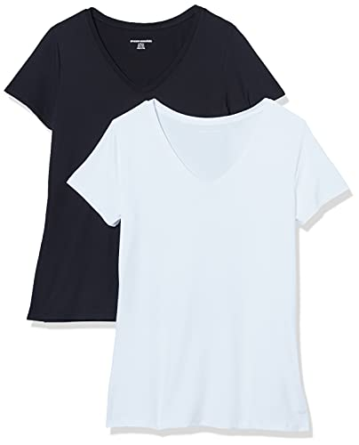 Amazon Essentials Women's 2-Pack Tech Stretch Short-Sleeve V-Neck T-Shirt, Black/White, Large