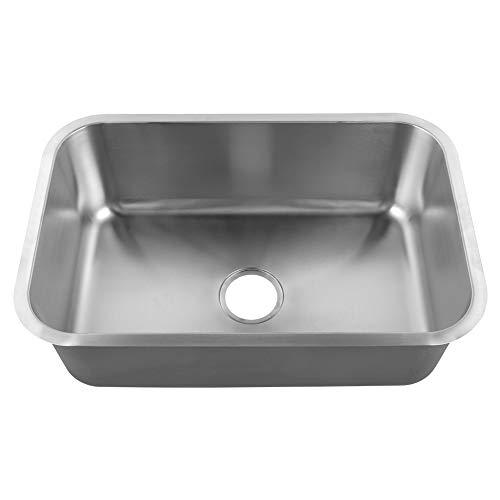 GOTOTOP Fregadero cuadrado de cocina de acero inoxidable con acabado esmerilado, dispositivo de drenaje trasero bajo encimera para uso en el hogar, restaurante, 42,5 x 65,5 x 22,5 cm