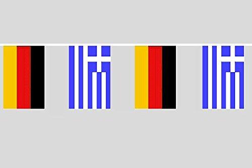 U24 Flaggenkette Deutschland - Griechenland 10,40 m Fahne Flagge Fahnenkette Fre&schaft