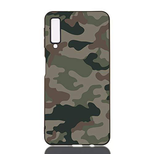 Everainy Kompatibel für Samsung Galaxy A7 2018 Hülle Silikon Bumper Gummi Cover Hüllen Handyhülle Stoßfest TPU Stoßstange Schwarz Schutzhülle (Camouflage)