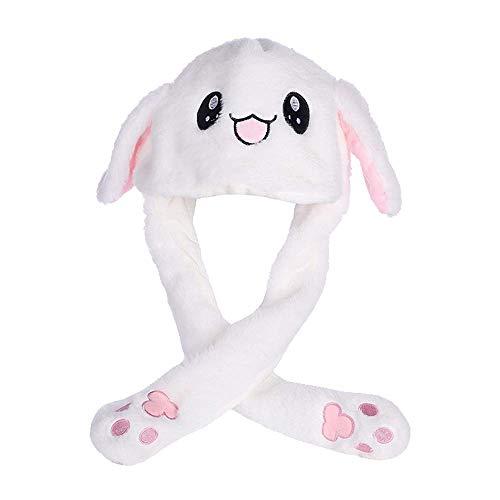 Amasawa Moving Kaninchen Hut Plüsch Tier Ohr Hut Beweglichen Ohren mit Airbag-Kappe für Spielzeug Geburtstagsgeschenk Plüschtier Geschenk(Weiß)