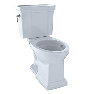TOTO CST404CEFG#01 Promenade II Two-Piece Elongated 1.28 GPF Universal Height Toilet with CeFiONtect, Cotton
