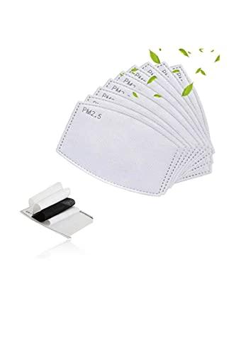 Filtri a Carbone Attivo PM 2.5 - Cartuccia di Ricambio con 20 Filtri Monouso - 5 Strati di Tessuto Filtrante Anti-Appannamento - Protezione Per Bocca Adattabile a Tutti i Tipi di Mascherine - Adulti
