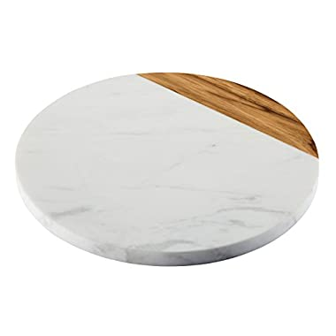 Anolon Pantryware 10-Inch Round Serving Board, Teak Wood w/ Marble