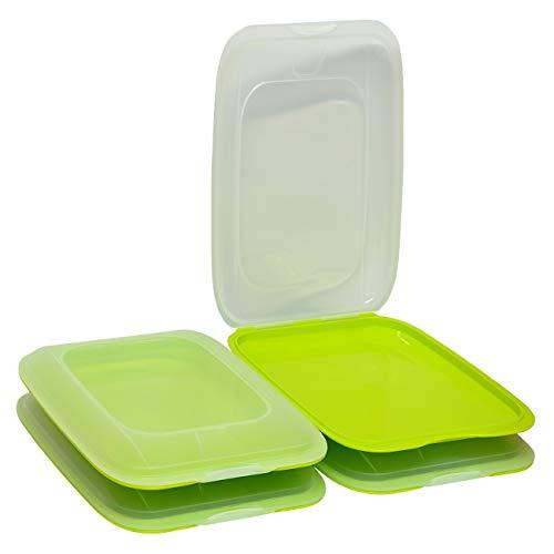 Gariella - Contenitore per salsicce impilabile di alta qualità per salsicce, 4 pezzi, colore verde, dimensioni 25 x 17 x 3,3 cm
