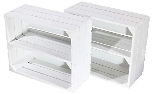 2X Vintage-Möbel 24 Weiße Obstkiste klein 50cm x 40cm x 22cm Schuhregal Kiste Weinkiste Mini xs Holzbox Weiss Apfelkiste Shabby chic massiv Vintagestyle Altes Land