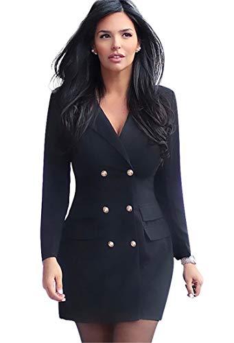 JIER Damen Zweireihig V-Ausschnitt Blazer Kleid Elegant Langarm Solide Hemdkleid Business Lange Hülse Büro Jacken Knopf Anzug Blusenkleid Minikleid (Schwarz,XX-Large)