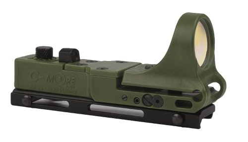 C-MORE Systems Railway Red Dot Sight with Click Switch, Olive Drab Green, 4 MOA