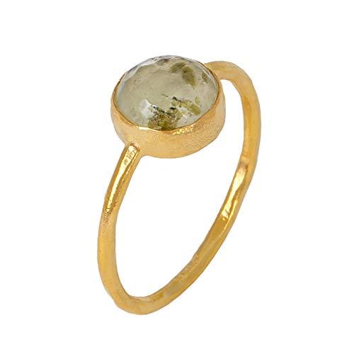 Sarah Bosman Ring Damen Gold Green Garnet - Damenring Silber Vergoldet Eingefasster Granat Grün - 9 mm Durchmesser - Größe 52 - SAB-R02GREGARg-52