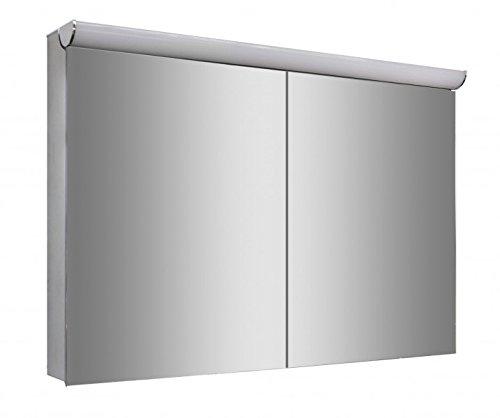 Spiegelschrank Multy BS100 mit Innenverspiegelung, Steckdose & LED-Licht - Breite 100cm