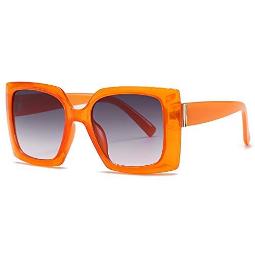 Gafas De Sol Gafas De Sol Cuadradas para Mujer, Gafas De Sol De Moda para Mujer, Gafas Retro para Hombre, Gafas Steampunk, Sombras Uv400 C3, Naranja-Gris