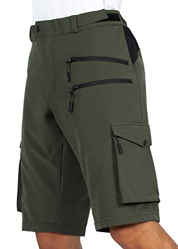 Gouxry Herren MTB Kurze Hose, Schnelltrocknende Mountainbike Hose mit 5 Reißverschluss Taschen Atmungsaktiv Elastische Fahrradhose Herren (Grün, XL)