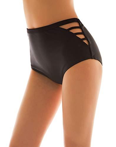 SHEKINI Damen Schwarze Badeshorts hohe Taille Bikinihose High Waist Bikini Höschen Plus Size (Medium, Hollow Out Side)