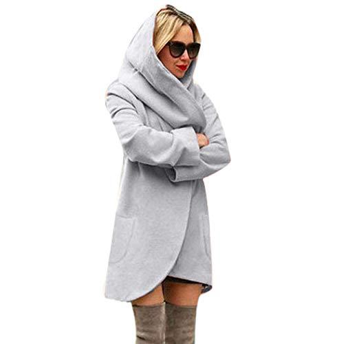 iHENGH Damen Winter Jacke Dicker Warm Bequem Lose Parka Mantel Frauen Lässig Stilvoll Woolen mit Kapuze dünnen Hoodies Top(4XL,Grau)