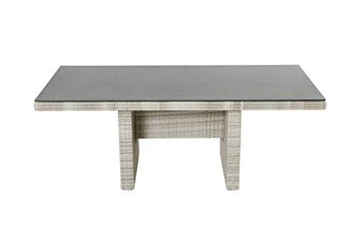 LC Garden Gartentisch Esstisch Terrassentisch Diningtisch 192 x 90 cm Roma Dining grau Aluminium Polyrattan Geflecht Spraystone