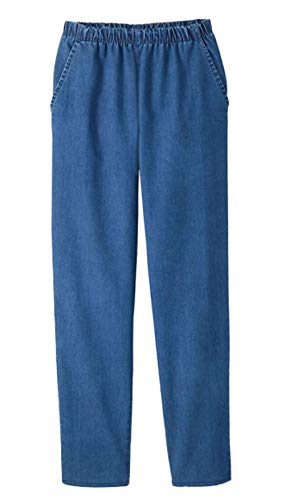 EOM Womans Pull On Side Pockets Full Elastic Waist Jeans (Indigo, M)