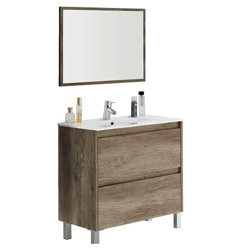 Abitti Mueble de baño o Aseo con lavamanos y Espejo Incluido, 2 cajones y Cierre amortiguado Color Nordik 80x80x45cm