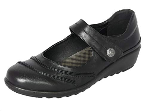 Cushion Walk Womens Ladies EEE Extra Wide Fitting Shoes, Lightweight Black...
